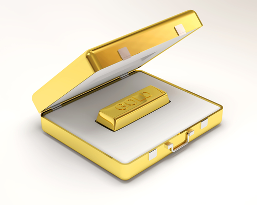 Gold bar in case