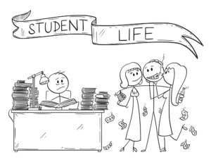 Cartoon of Student Life, One Student is Learning From Books, Second One is Partying With Girls