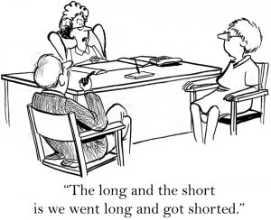 "Comic - ""The long and the short is we went long and got shorted."""