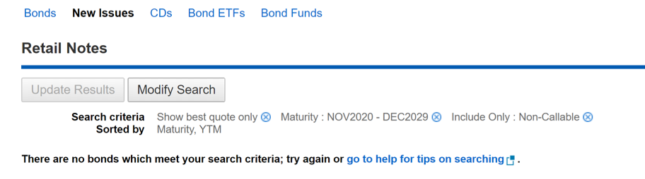 "Search results: ""There are no bonds which meet your search criteria..."""