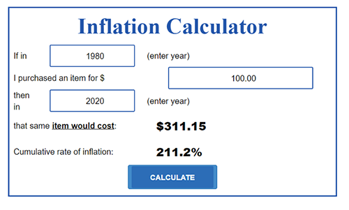 US Inflaction Calculator Screenshot