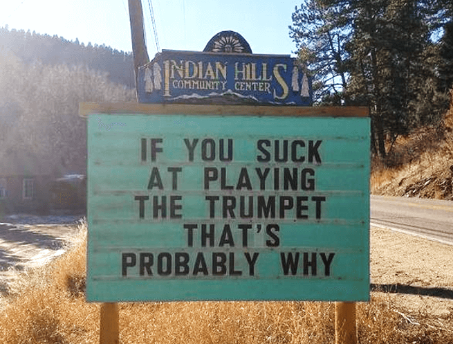 Indian Hills Community Sign Humor