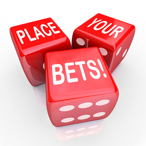 Place Your Bets Dice Gambling Future Opportunity Guess
