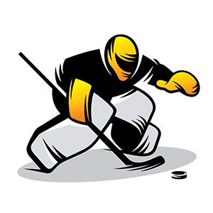 Hockey goalkeeper in yellow helmet