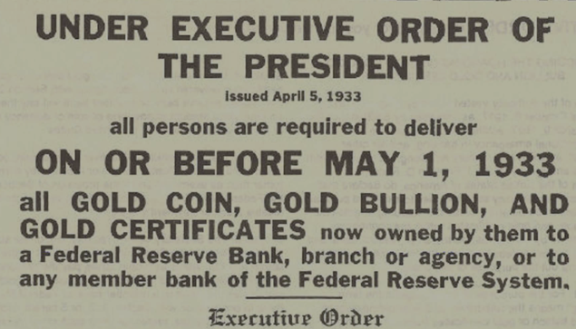 Under Executive Order of the President - Roosevelt