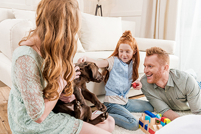 Family with Puppy