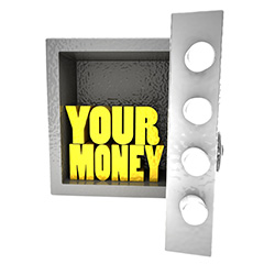 """Strongbox with """"Your Money"""" words inside"""