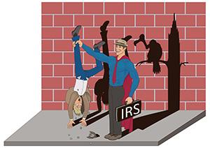 IRS Man holding a man upside down