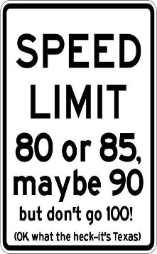 Texas Speed Limit Humor