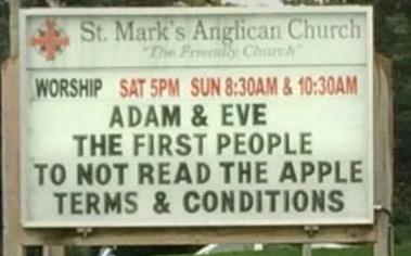 Funny Church Sign: Adam & Eve: The first people to not read the apple terms & Conditions