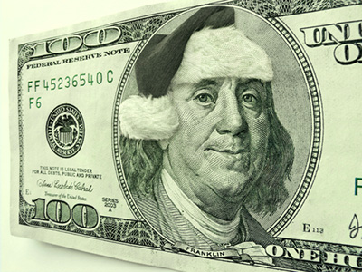 Ben Franklin Wearing Santa Hat For Christmas Hundred Dollar Bill - Are You A Believer?