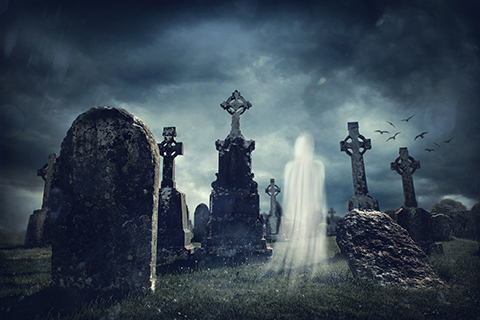 Spooky old graveyard and a ghost - Whistling Past The Graveyard