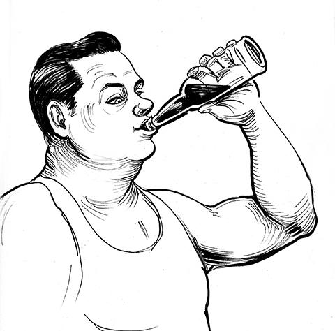Illustration of man drinking beer from a bottle - Bob's Big Wheel Bar