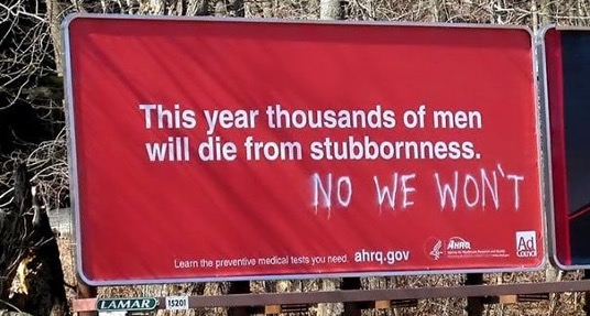Sign Humor - Stubborn men